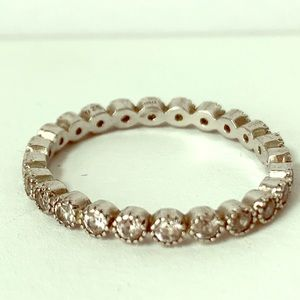 Jewelry - Sterling Silver 925 Round Crystal Stacking Ring